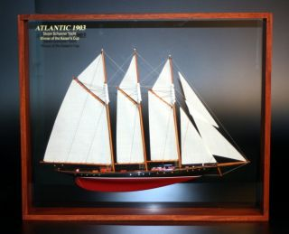 Framed Atlantic 1903 Steam Schooner Yacht Half Model Three Masted Sail Abordage photo