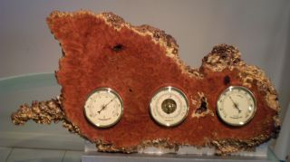 Australian Coolabah Burl Weather Station (barometer,  Thermometer & Hygrometer) photo