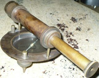 Antique Rare Military Scope Compass Civil War Or Earlier Alidade ? photo