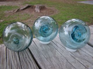 3 Authentic Japanese Glass Fishing Floats Ball Buoy photo