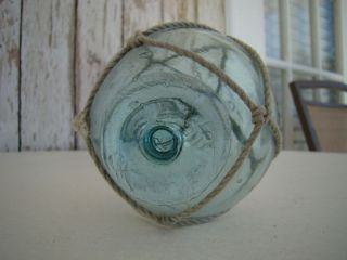 Old Japanese Glass Fishing Float Rare Vintage Buoy Ball photo
