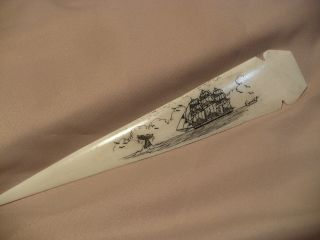 Scrimshaw Buffalo Bone Spear Handle Letter Opener S/ Ship/ Whale Tail photo