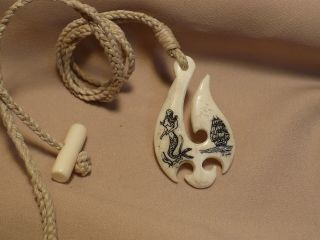 Scrimshaw Ox Bone Maori Pendant Mermaid & Ship photo