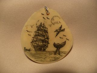 Scrimshaw Tagua Nut/ Pendant Ship/ Whale Tail photo