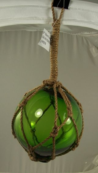Nautical Fishing Float Green Glass Ball Rope Netting 6