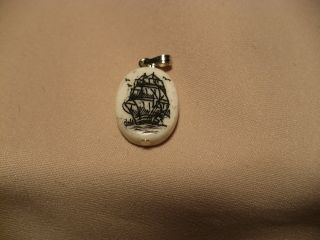 Scrimshaw Cow Bone Pendant Ship photo
