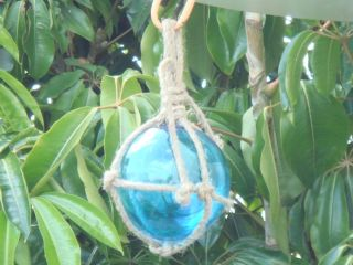 Ocean Blue Glass Float Ball With Fishing Net 5