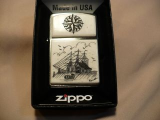 Scrimshaw Cow Bone Wide Zippo Lighterdock Scene - Compass Rose photo