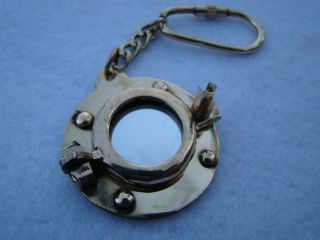 Brass Porthole Mirror Keychain Nautical Port Hole Key Chain photo