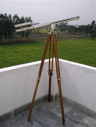 Navy Astro Chromed Telescope With Tripod Stand photo