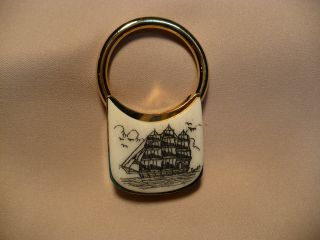Scrimshaw Brass Keyring Side Ship photo