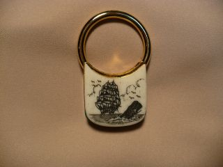 Scrimshaw Brass Keyring Ship/ Sperm Whale photo