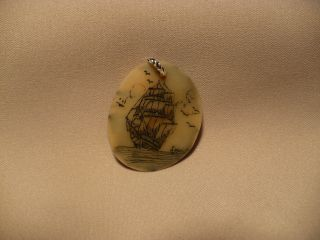 Scrimshaw Tagua Nut/ Pendant Ship photo