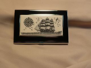 Scrimshaw Resin Silver Business Card Holder Side Ship - Compass Rose photo