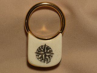 Scrimshaw Brass Keyring Compass Rose photo