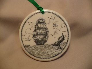 Scrimshaw Resin Christmas Ornament Ship - Whale Tail photo