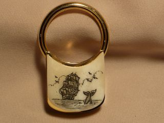 Scrimshaw Brass Keyring Ship & Whale Tail photo