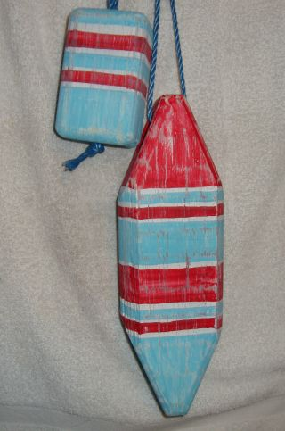 Buoy. . . . .  Nautical Lobster/crab Pot Wood Bouy Float photo