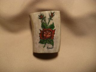 Scrimshaw Deer Antler Scarf Ring - Red Roses photo
