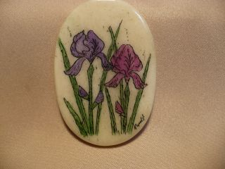 Scrimshaw Bone Worry Stone Irises photo