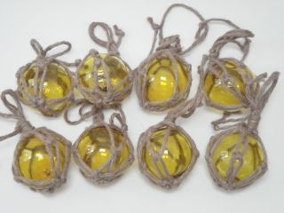 8 Pcs Yellow Glass Float Fishing Ball Buoys 3