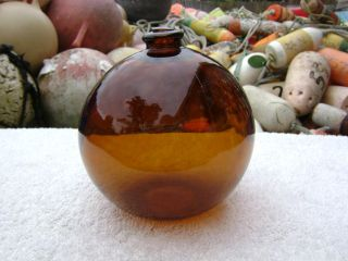 4+1/2 Inch Tall Northwest Glass Company Glass Float Amber Ball Nw4 Mark (263) photo