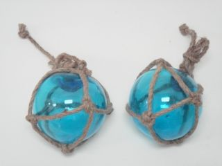 Blue Glass Float Ball With Fishing Net 5