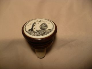 Scrimshaw Resin / Wood Wine Stopper Ship / Lighthouse photo