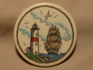 Scrimshaw Resin Magnet Ship & Lighthouse In Color photo
