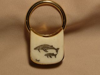 Scrimshaw Brass Keyring Humpback Whales photo
