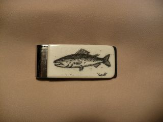 Scrimshaw Cow Bone Money Clip Salmon photo