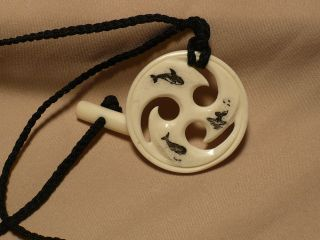 Scrimshaw Ox Bone Maori Pendant Whales & Whale Tail photo