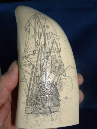 Scrimshaw Replica Sperm Whale Tooth