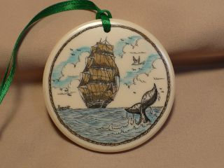 Scrimshaw Resin Christmas Ornament Ship/ Whale Tail photo