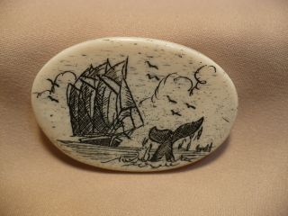 Scrimshaw Bone Worry Stone Schooner / Whale Tail photo