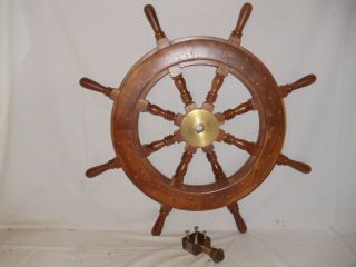 Vintage Nautical Wooden Wood & Brass Ship Boat Steering Wheel Helm 32