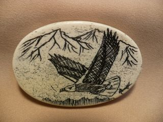 Scrimshaw Bone Worry Stone Eagle photo