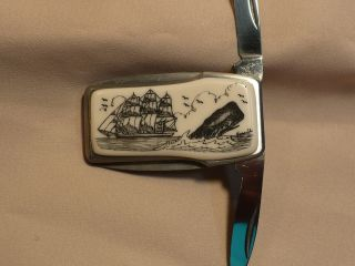 Scrimshaw Resin Money Clip Knife Side Ship - Sperm Whale photo