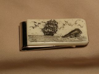 Scrimshaw Cow Bone Money Clip Ship & Sperm Whale photo