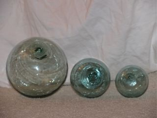 Three (3) Authentic Japanese Glass Ball Fishing Floats +++ Bubbles & Inclusions photo