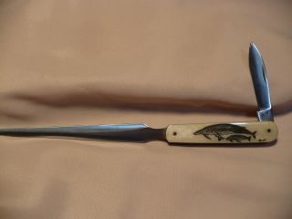 Scrimshaw Letter Opener Knife Humpback Whales photo