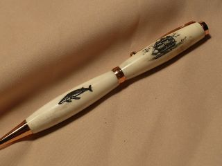 Scrimshaw Whitetail Deer Antler Ink Pen Side Ship & Humpback Whale photo
