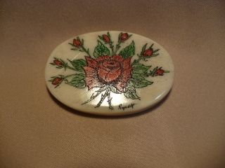 Scrimshaw Bone Worry Stone Red Roses photo