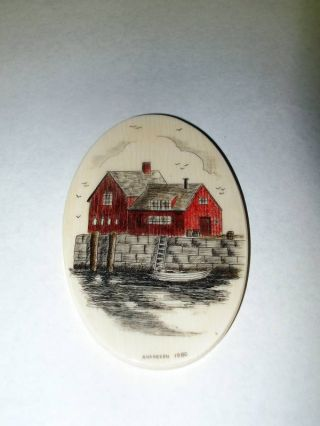Vintage Hand - Crafted Andresen Scrimshaw Dated 1980 New photo