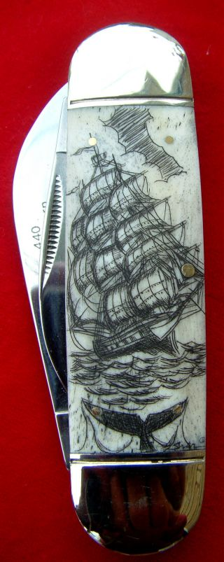 Scrimshaw Art,  Tall Ship,  Whale,  Pirate ' S Sword,  By Shar,  Folding Knife/knives photo