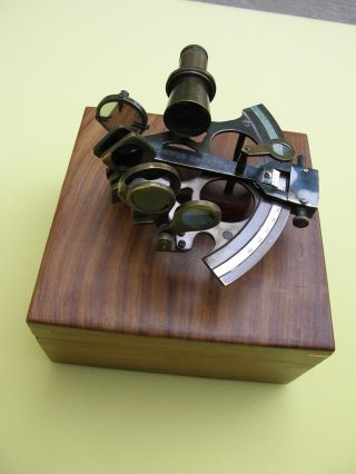 Nautical Brass Sextant With Wooden Box photo