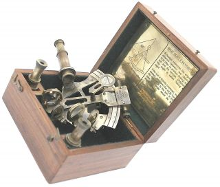 German Brass Slow Motion Sextant With Box & Two Lenses photo