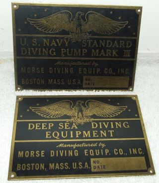 Rare Authentic Wwii U.  S.  Navy Battleship Brass Diving Signs; Morse Diving Co. photo