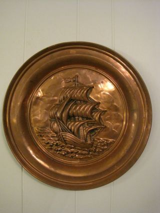 Vintage Copper Nautical Ship Hanging Charger Plate European Old Rare Collectible photo