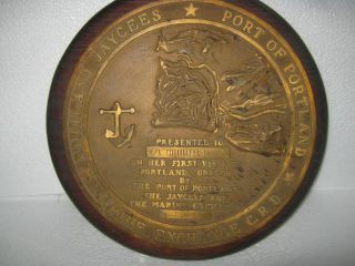 Vintage Name Plate Gifted To Ship M/v.  Cordillera By Port Of Portland In 1979 photo